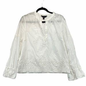 J Crew White Cotton Boho Blouse Medium